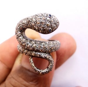 rose cut diamond Silver ring snake jewelry