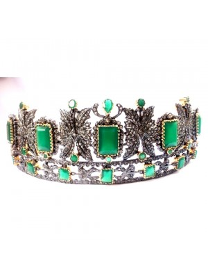 Go Green Natural Diamond Silver Emerald Bridal Tiara