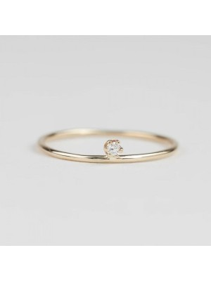 Solitaire 0.25Ct Natural Diamond 14K Gold Engagement Ring