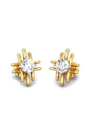 Solitaire Style Mini Diamond Hallmark Solid 14K Gold Earring