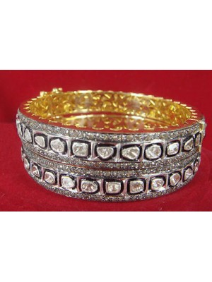Historical Touch Bangle Polky and Pave Diamond Silver Bracelet