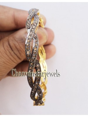 Twisted Bangle Style Rose Cut Diamond 925 Silver Bracelet