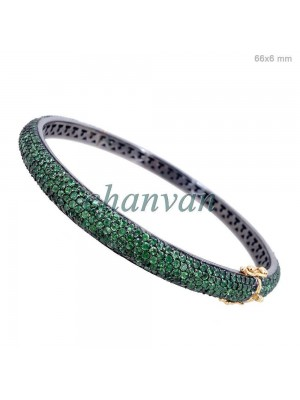 Nature Love Green stone Sterling Silver Statement Bracelet Bangle