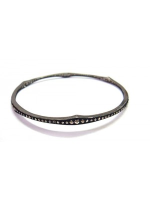 Simply Great Design Rose Cut Diamond Sterling Silver Bangle