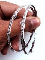Pave Rose Cut Diamond Antique Silver Bangle 2 Pcs Bracelet