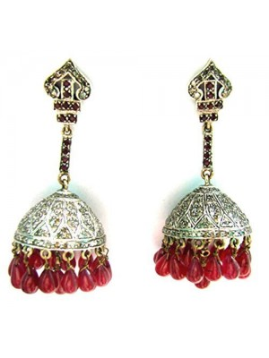 Delicate Touch Jhumka Rose Cut Diamond Sterling Silver Earrings