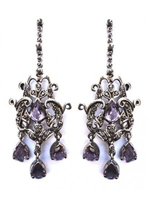 Chandelier Rose Cut Diamond Sterling Silver Vintage Inspire Earring