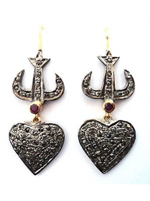 Love Gift Heart Rose Cut Diamond Antique Silver Earrings