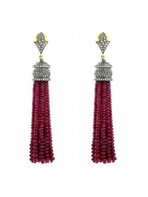 Chandelier Ruby Bead Tassel Diamond 925 Silver Earring