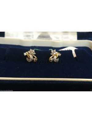 Natural Diamond 14K Gold Wedding Stud Earring