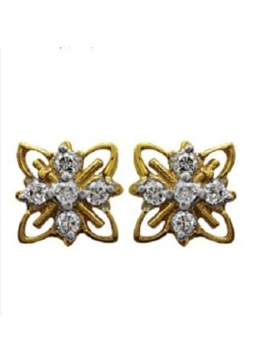 Floral Natural Diamond 14K Gold Stud Earrings