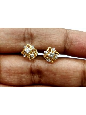 14K Yellow Gold Stud Real Diamond IJ Color Earring