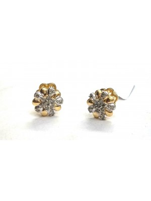 14K Yellow Gold Stud Real Diamond IJ Flower Earrings
