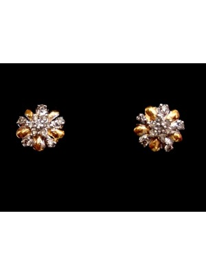 14K Yellow Gold Stud Diamond Birthday Earrings