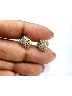 Artisan 14K Gold Stud Diamond Women Cluster Earrings