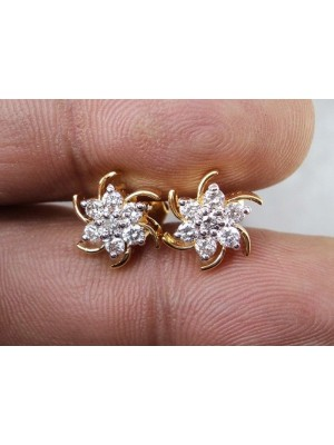 Most Exotic Diamond Solid 14K Gold Stud Earrings