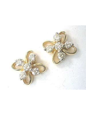 Magnificent Diamond Solid 14K Gold Stud Earrings