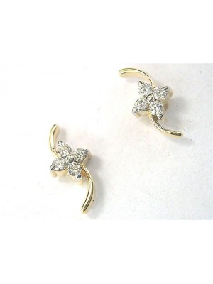 Hidden Secret Natural Diamond 14K Gold Stud Earrings