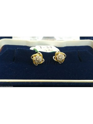 Natural Diamond Earrings 14K Yellow Gold Stud