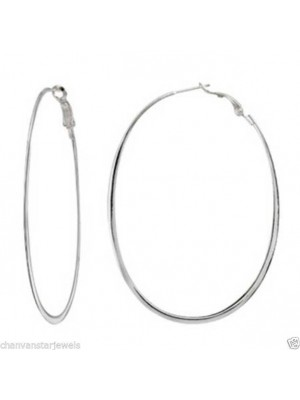 Popular Sterling Silver Oval Hoop Earring