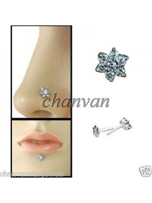 Diamond 14K Gold Nose and Lips Piercing Pin Stud