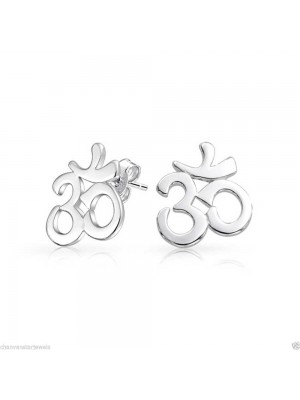 Spiritual Om Handmade Silver Stud Earrings
