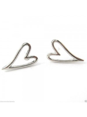 Love Gift Heart Sterling Silver Stud Earrings