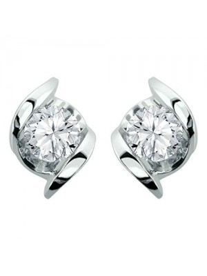 Blooming Diamond Silver Stud Earrings