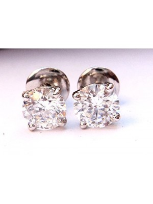 Solitaire Love Silver Diamond Stud Earrings