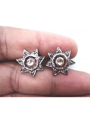 Stars In your Hand Sterling Silver Polky Diamond Stud