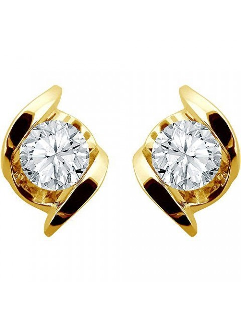 Solitaire Gold Dipped Silver Diamond Fine Stud