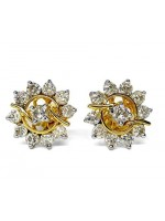 Stylish Diamond 14K Gold Gold Stud Earrings