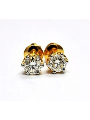 Gold Dipped Silver Solitaire Diamond Stud Earring