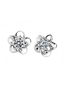 Floral Silver Lab Diamond Stud Earrings