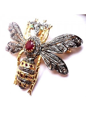 Magical Fly Rose Cut Diamond Sterling Silver Ruby Brooch Pin