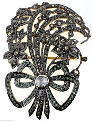 Bouquet of Flower Sterling Silver Rose Cut Diamond Polky Brooch