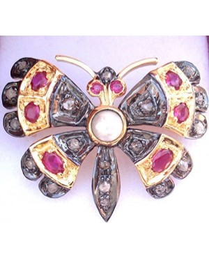 Butterfly Antique Silver Gold Finish Rose Cut Diamond Brooch