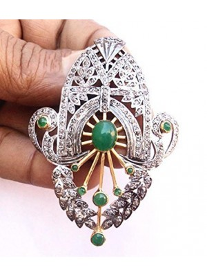 Green Vintage Touch Silver Rose Cut Diamond Brooch Pin
