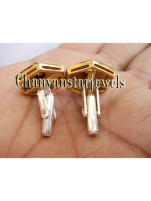 Beauty of Shape 925 Silver Rose Cut Diamond Polky Men Cufflinks