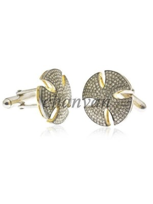 Beautifully Crafted Rose Cut Diamond Sterling Silver Cufflinks