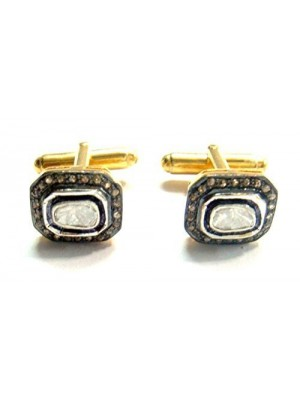 Eye Catching Rose Cut Diamond Silver Gold Finish Polky Cufflinks