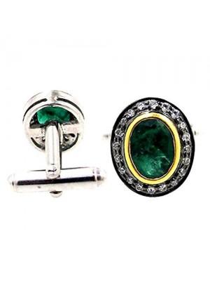 Antique Cut Natural Diamond Sterling Silver Emerald Cufflinks