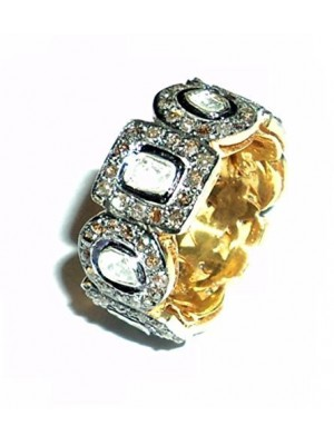 chanvanworld Pave Rose Cut Diamond 925 Sterling Silver Polki Vintage Style Band ring