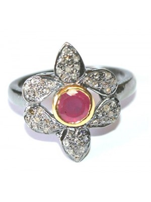 Floral Rose Cut Diamond Antique Silver Finish Ruby Ring