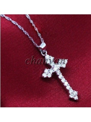 Spiritual Cross Diamond Solid 10K Gold Pendant (Without Chain)