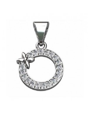 Sparkling Natural Diamond 14K White Gold Pendant