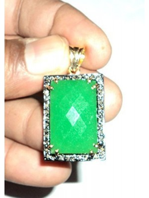 Nature Love Diamond 925 Sterling Silver Green Onyx Pendant