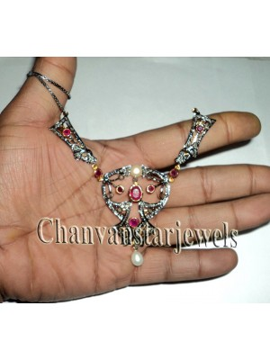 Women Rose Cut Diamond Silver Pearl Ruby Party Necklace