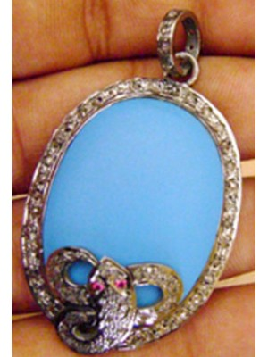 Boho Style Rose Cut Diamond Sterling Silver Turquoise Pendant