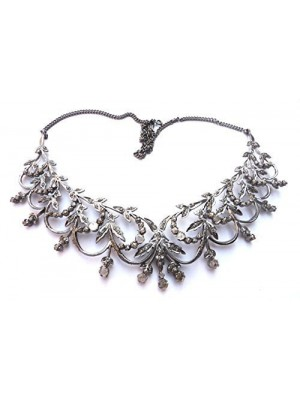 Statement Style Rose Cut Diamond 925 Sterling Silver Necklace